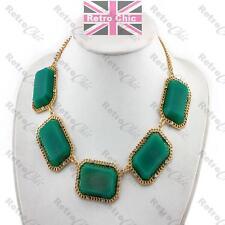 BIG EMERALD GREEN statement NECKLACE collar GOLD PLTD crystal VINTAGE STYLE GEM