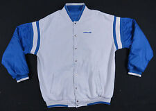 ADIDAS BLUE & GREY REVERSIBLE WINDBREAKER BASEBALL JACKET VARSITY TREFOIL EUC