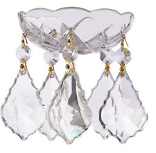 Crystal Chandelier Bobeche 30% Lead Chandelier Part W/Gold Pin & French Cut
