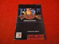 We're Back A Dinosaur Story Super Nintendo SNES Instruction Manual Booklet ONLY