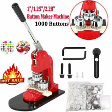 "1""/1.25""/2.28&# 034; Button Maker Badge Punch Press Machine + 1000 Buttons Parts"