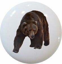 Grizzly Bear Animal Cabinet Drawer Pull Knob Ceramic