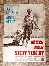 LANCASTER, HEPBURN * DENEN MAN NICHT VERGIBT - A1-FILMPOSTER WA Unforgiven RR´65