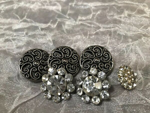 Lot Of 6 Mixed Rhinestone / Misc. Buttons