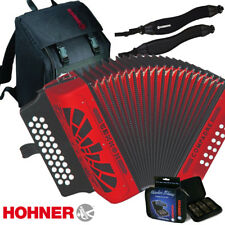 NEW Hohner COMPADRE EAD Diatonic Accordion Red + Bag, Strap, 3 Pack Harmonica