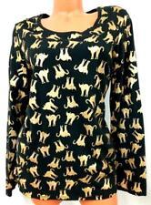 No boundaries black gold foil cat print long sleeve halloween top XXL