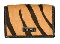 Tumi Tiger Fur & Leather Credit Card Case Wallet New $150