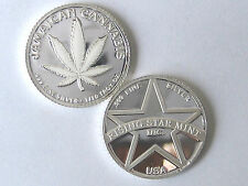 1/10th Troy Oz.999 Solid Silver White Dream Jamaican Cannabis Coin w/free US S&H