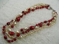 Silvertone Red White Multi Chain Necklace (D10)