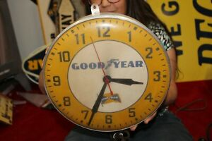 Vintage 1950's Goodyear Tires Gas Oil Metal & Glass Clock Sign WORKS