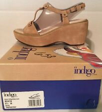 NWB Womens 9.5M Indigo by Clarks Tapestry Genuine Leather Wedge Sandal Beige Tan
