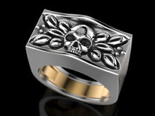 Unique Skull Two Tone Hidden 925 Sterling Silver Secret Compartment Ring