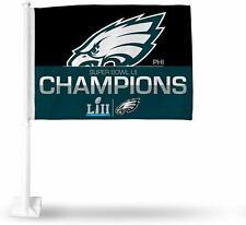 "Nfl Philadelphia Eagles Super Bowl Lii Champions 19"" Tall Car Flag 11"" by 15"""