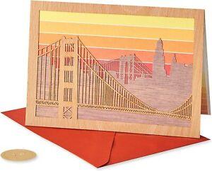"Intricate Papyrus Birthday Card - Laser-Cut ""wood"" Cityscape+ Suspension Bridge"