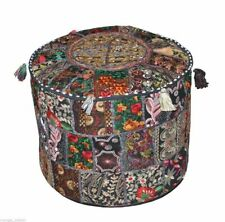 "Indian Cotton 14X22"" Round Footstool Cover Throw Patchwork Vintage Ottoman Pouf"