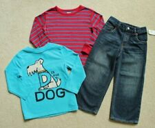 Boys Baby Gap Blue Dog Shirt Red Striped Shirt Denim Jeans Outfit Lot 4 4T