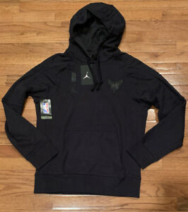 Men's Nike Jordan Charlotte Hornets Black Subdued Hoodie Small NWT Rare