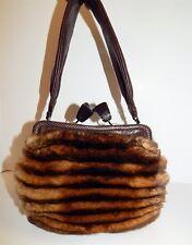 Salvatore Ferragamo Brown Genuine Mink Kisslock Shoulder Bag Italy 036012826d510
