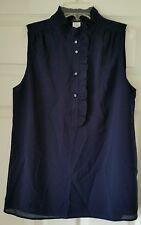 J Crew Factory Women ruffle collar top shirt sz 6 navy #73813 blouse shirt