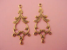 4 brass ox open art nouveau chandelier pagoda style charms 30mm 3 loops