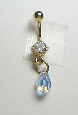Crystal Teardrop Belly Ring - Made with Swarovski Crystal AB with Rainbow Effect