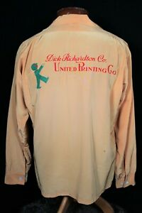 RARE VINTAGE 1950'S LT TAN BROWN SILKY RAYON SHIRT WITH BACK PRINTING SIZE  MED
