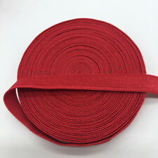 """5yds 3/8"""" Fold Over Multirole Elastic Spandex Band Lace Sewing Trim Light Red"""
