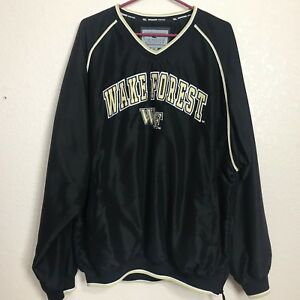 Wake Forest Colosseum Athletics Pullover Windbreaker Jacket Black Gold Size XL
