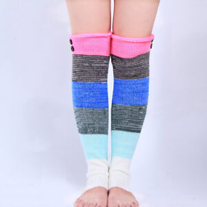 Women Knitted Casual Leg Warmers Socks High Knee Long Boots Legging Stockings