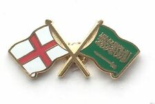 England & Saudi Arabia Flags Friendship Courtesy Enamel Lapel Pin Badge