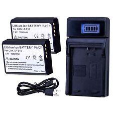 2x Akku LP-E10 + USB LCD Ladegerät für Canon EOS 4000D 2000D 1300D 1200D 1100D