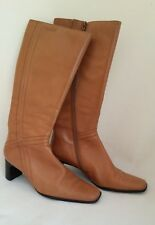 CAMEL SUPERSOFT LEATHER BOOTS BY TAMARIS of BULGARIA. NARROW HEEL. SIZE 38.