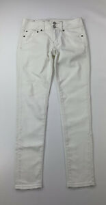 American Eagle Women's Size 2 Ivory Skinny Stretch Double Button Low-Rise Jeans
