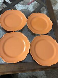 """Gibson Home Baypointe 4 Piece 10.5 """" Melamine Dinner Plate Set Tangerine Orange"""