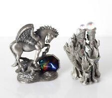 Lot of 2 Vintage Pewter Fantasy Figurines Proud Pegasus Tudor Mint & Cci Castle