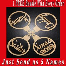 4 x Personalised Named Christmas Tree MDF Decoration Baubles - Wooden Shapes