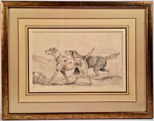 """Unsigned English School Drawing """"Two Pointers"""" With Blindstamp And Gallery Frame"""