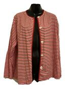 Basic Editions 5 Button Front Jacket Sweater Red & White Stripe LS Large EUC
