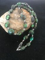 """Native American Sterling Silver Green Spider Web Turquoise Nugget Necklace 22"""""""