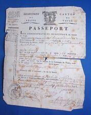 ancien passeport an VII de la revolution canton vaise lyon 69 laissez passer 18e