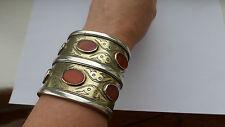 Antique Large silver Gold Carnelian Turkmenistan Tekke Turkoman Bracelet RARE