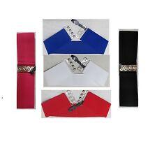 Plain Wide Elasticated Waist Belt Waspie Nurse Cinch Corset Belts Silver Buckle
