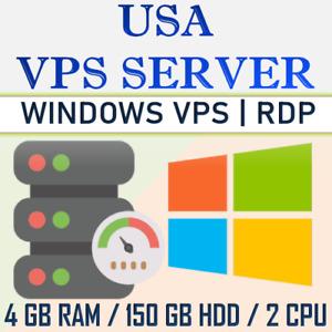 USA Windows VPS RDP Server/ Windows VPS Hosting - 4GB RAM + 150GB HDD