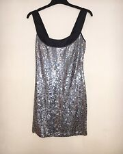 Ladies Silver Sequin Mini Dress - Size Small SPARKLY PARTY DISCO HEN FESTIVAL