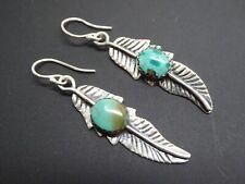Vintage Navajo Sterling 925 Feather Turquoise gemstone Drop Dangle Earrings