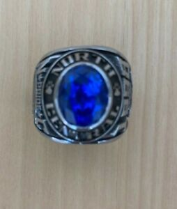 College Ring Silber Blauer Spinell North Central High School Class 1998 Herren