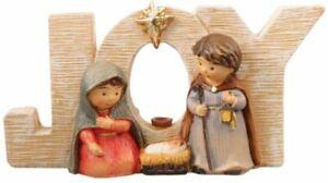 Xmas Nativity Set JOY Small Holy Family Figures Multicolour Xmas Decoration