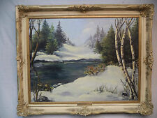 Laurentian Winter Signed W Duncan Original Oil Painting Framed Brass Plaque