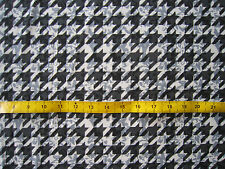 "Black & White Dogtooth Polyester Georgette 60"" Wide by Metre 60s Mod Houndstooth"