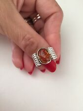 Sterling Silver Art Deco Amber Ring Anello Argento 925